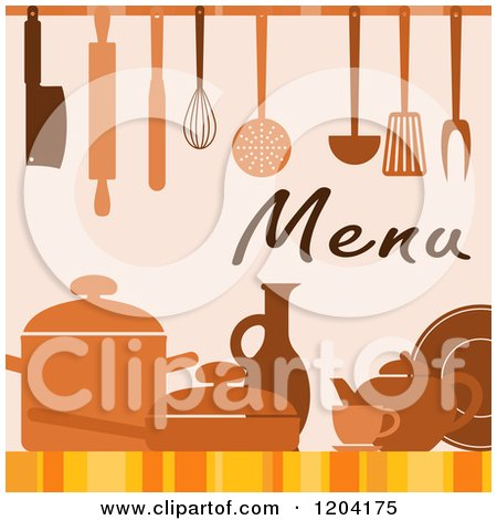 Clipart of a Menu Cover Design with Utensils Pots and Dishes - Royalty Free Vector Illustration by Vector Tradition SM