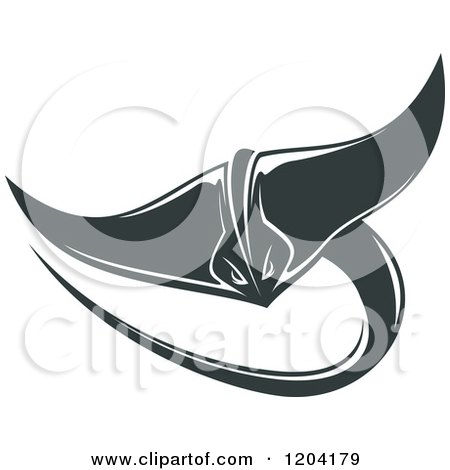 Clipart of a Swimming Stingray Fish 6 - Royalty Free Vector Illustration by Vector Tradition SM