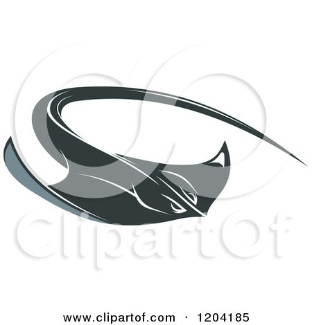 Clipart of a Swimming Stingray Fish 2 - Royalty Free Vector Illustration by Vector Tradition SM