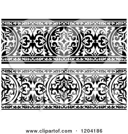 Clipart of Black and White Ornate Arabian Borders 2 - Royalty Free Vector Illustration by Vector Tradition SM