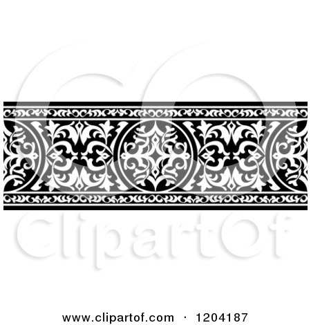 Clipart of a Black and White Ornate Arabian Border 3 - Royalty Free Vector Illustration by Vector Tradition SM