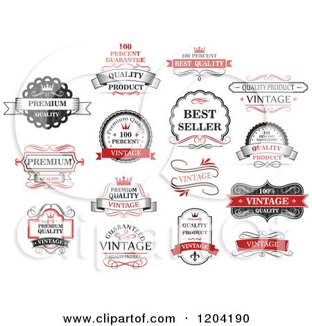 Clipart of Red Black and White Vintage Quality Guarantee Labels - Royalty Free Vector Illustration by Vector Tradition SM