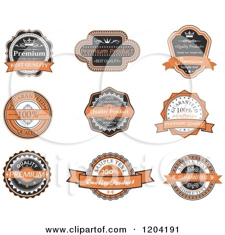 Clipart of Orange Black and White Vintage Quality Guarantee Labels - Royalty Free Vector Illustration by Vector Tradition SM