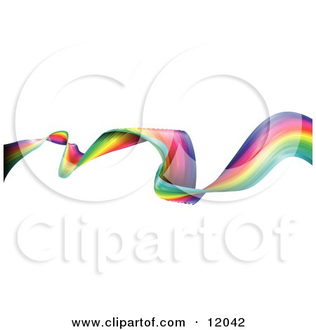 Waving and Twisting Colorful Rainbow Ribbon Clipart Illustration by AtStockIllustration