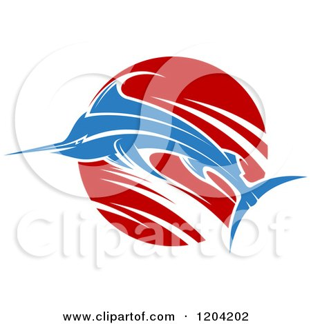 Clipart of a Leaping Marlin Fish and Wave 3 - Royalty Free Vector Illustration by Vector Tradition SM