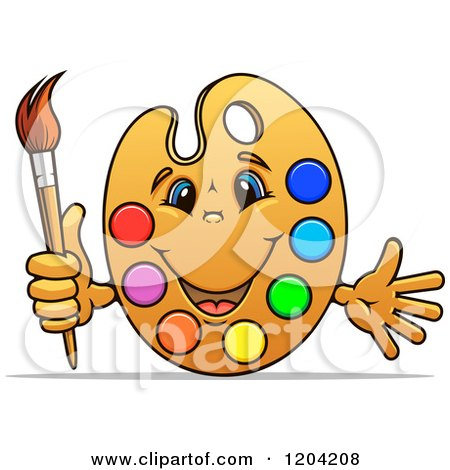 Clipart of a Happy Art Palette Mascot with Paints and a Brush - Royalty Free Vector Illustration by Vector Tradition SM