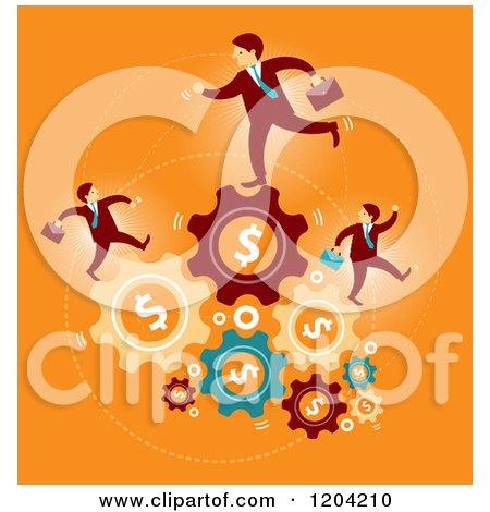 Businessmen Running on Dollar Gears over Orange Posters, Art Prints