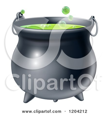 Cartoon of a Witch Cauldron with Bubbly Green Brew - Royalty Free Vector Clipart by AtStockIllustration