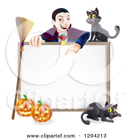 Cartoon of a Vampire Pointing down at a Halloween Sign with a Broomstick Black Cats and Pumpkins - Royalty Free Vector Clipart by AtStockIllustration