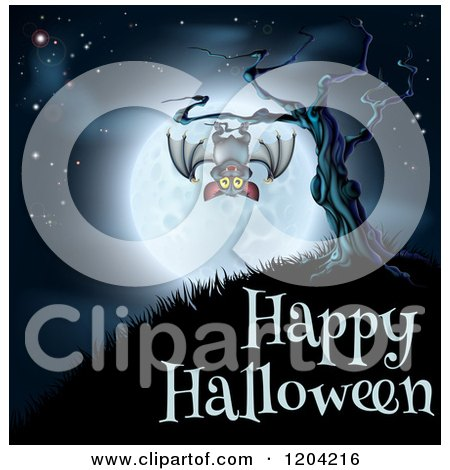 Cartoon of a Vampire Bat Hanging from a Spooky Tree Against a Full Moon over Happy Halloween Text - Royalty Free Vector Clipart by AtStockIllustration