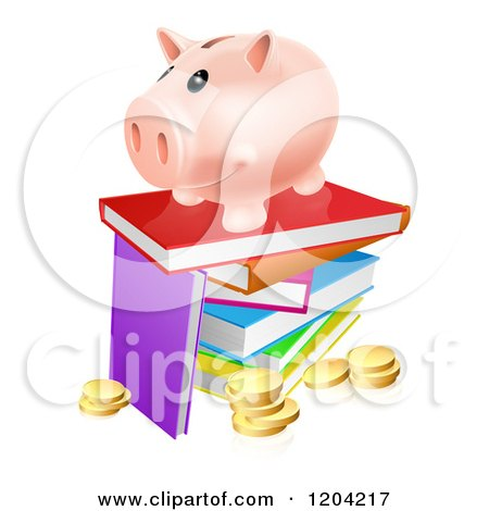 Happy Piggy Bank on a Stack of Books over Coins Posters, Art Prints