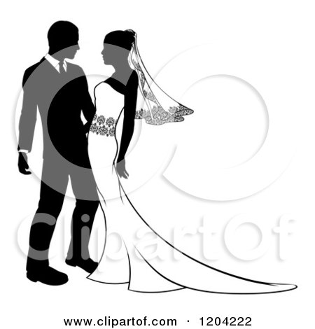 Clipart of a Black and White Silhouetted Wedding Couple Embracing - Royalty Free Vector Illustration by AtStockIllustration