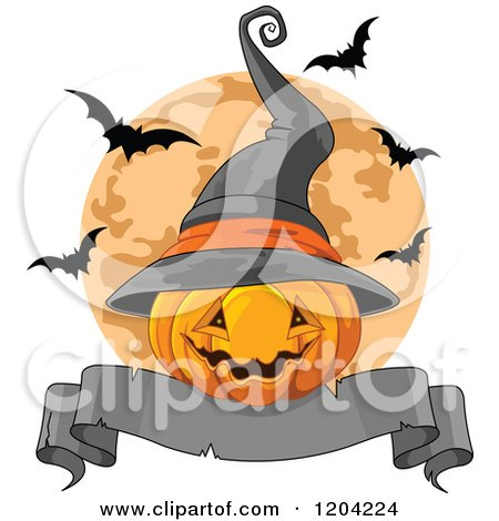 Halloween Jackolantern Pumpkin with a Witch Hat Banner and Bats over a Full Moon Posters, Art Prints