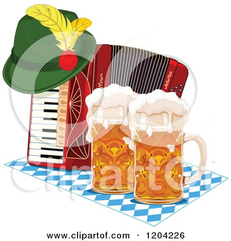 Cartoon of an Oktoberfest German Hat on an Accordion with Beer Mugs - Royalty Free Vector Clipart by Pushkin