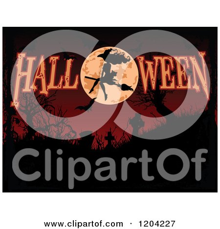 Cartoon of a Silhouetted Witch Flying over a Full Moon over a Dark Cemetery with HALLOWEEN Text - Royalty Free Vector Clipart by Pushkin