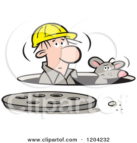 Cartoon of a Construction Worker and Mouse in a Manhole - Royalty Free Vector Clipart by Johnny Sajem
