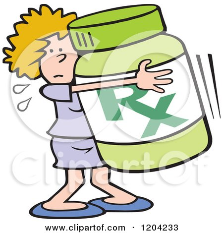 Cartoon of a Woman Hugging a Prescription Bottle - Royalty Free Vector Clipart by Johnny Sajem