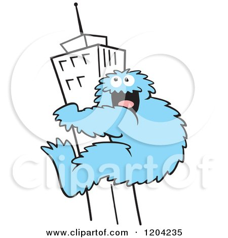 Cartoon of a Blue Bigfoot Climbing a Skyscraper Building - Royalty Free Vector Clipart by Johnny Sajem