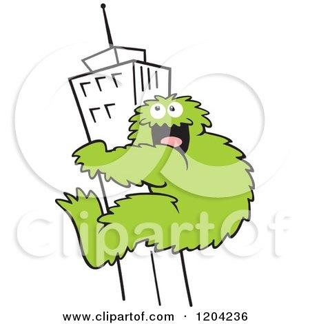 Cartoon of a Green Bigfoot Climbing a Skyscraper Building - Royalty Free Vector Clipart by Johnny Sajem