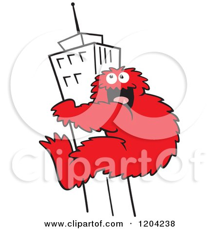 Cartoon of a Red Bigfoot Climbing a Skyscraper Building - Royalty Free Vector Clipart by Johnny Sajem