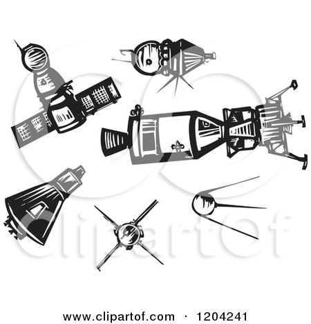 Clipart of Spaceships and Satellites Black and White Woodcut - Royalty Free Vector Illustration by xunantunich