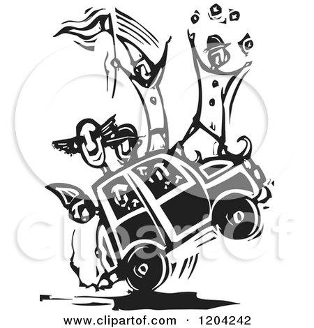 Circus Clown Car Black and White Woodcut Posters, Art Prints