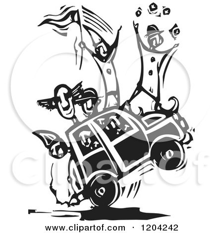 Clipart of a Circus Clown Car Black and White Woodcut - Royalty Free Vector Illustration by xunantunich