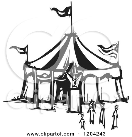 Clipart of a Ringmaster People and Circus Tent Black and White Woodcut - Royalty Free Vector Illustration by xunantunich