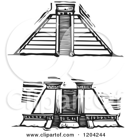 Clipart of Two Mayan Pyramid Views Black and White Woodcut - Royalty Free Vector Illustration by xunantunich