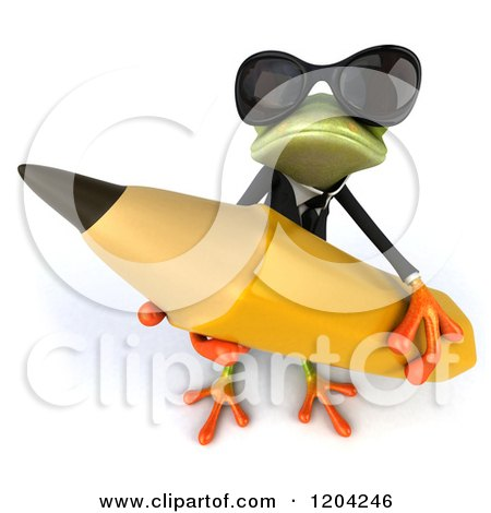 Clipart of a 3d Formal Springer Frog Wearing Sunglasses and Holding a Giant Pencil - Royalty Free CGI Illustration by Julos