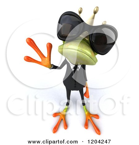 Clipart of a 3d Formal Springer Frog Prince Wearing Sunglasses and Waving - Royalty Free CGI Illustration by Julos