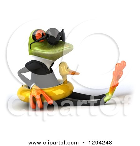 Clipart of a 3d Formal Springer Frog Wearing Sunglasses and Sitting in a Duck Inner Tube - Royalty Free CGI Illustration by Julos