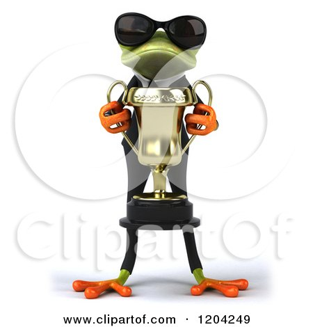 Clipart of a 3d Formal Springer Frog Wearing Sunglasses and Holding a Trophy - Royalty Free CGI Illustration by Julos