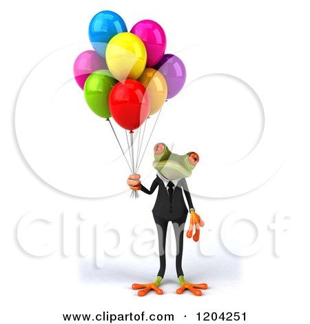 Clipart of a 3d Formal Springer Frog Standing with Party Balloons - Royalty Free CGI Illustration by Julos