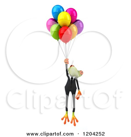 Clipart of a 3d Formal Springer Frog Floating with Party Balloons - Royalty Free CGI Illustration by Julos