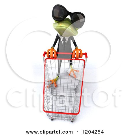 Clipart of a 3d Formal Springer Frog Wearing Sunglasses and Pushing a Shopping Cart - Royalty Free CGI Illustration by Julos