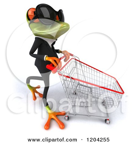 Clipart of a 3d Formal Springer Frog Wearing Sunglasses and Pushing a Shopping Cart 2 - Royalty Free CGI Illustration by Julos