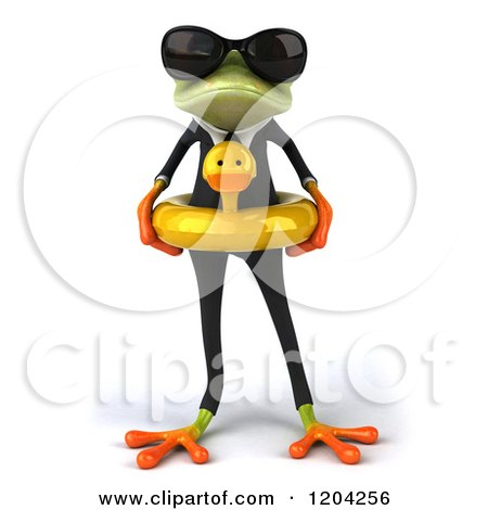 Clipart Of A 3d Formal Springer Frog Wearing Sunglasses And Wearing A Duck Inner Tube Royalty Free CGI Illustration