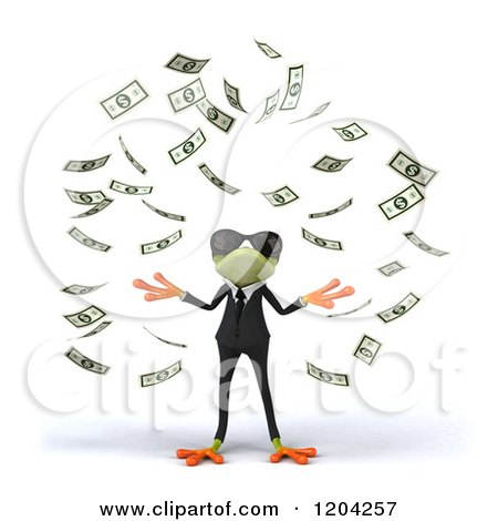 Clipart of a 3d Formal Springer Frog Wearing Sunglasses and Standing in Falling Cash - Royalty Free CGI Illustration by Julos