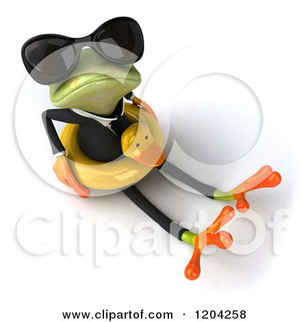 Clipart of a 3d Formal Springer Frog Wearing Sunglasses and Sitting in a Duck Inner Tube 2 - Royalty Free CGI Illustration by Julos