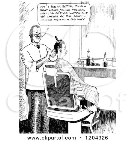 Cartoon of a Vintage Black and White Barber Discussing Gray Hairs - Royalty Free Vector Clipart by Prawny Vintage