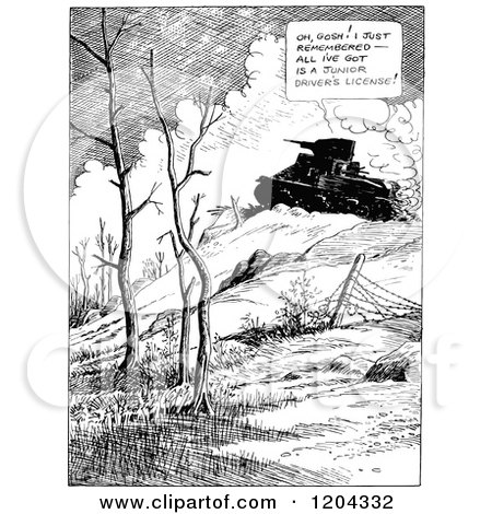 Cartoon of a Vintage Black and White Military Tank - Royalty Free Vector Clipart by Prawny Vintage