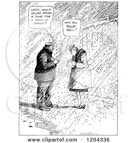 Cartoon of a Vintage Black and White Woman Giving Change to a Poor Man - Royalty Free Vector Clipart by Prawny Vintage