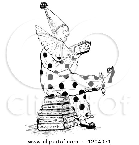 Clipart of a Vintage Black and White Clown Reading Joke Books - Royalty Free Vector Illustration by Prawny Vintage