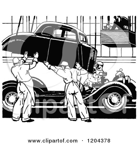 Clipart of a Vintage Black and White Automobile Assembly Line - Royalty Free Vector Illustration by Prawny Vintage