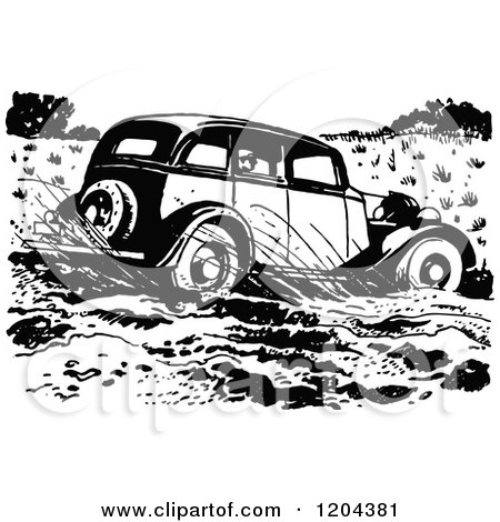 Clipart of a Vintage Black and White Vintage Car Driving Through Mud - Royalty Free Vector Illustration by Prawny Vintage