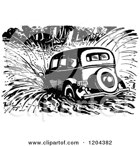 Clipart of a Vintage Black and White Vintage Car Crashing into Water - Royalty Free Vector Illustration by Prawny Vintage