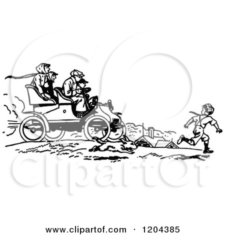 Clipart of a Vintage Black and White Boy Running by a Car - Royalty Free Vector Illustration by Prawny Vintage