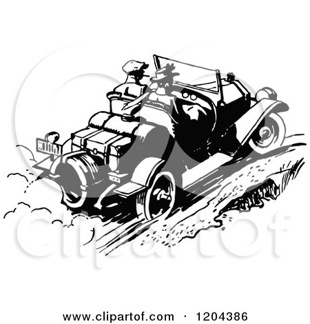 Clipart of a Vintage Black and White Couple Driving a Convertible Car - Royalty Free Vector Illustration by Prawny Vintage
