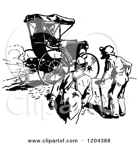 Clipart of a Vintage Black and White Gas Buggy and Men - Royalty Free Vector Illustration by Prawny Vintage